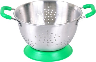 Montstar Deep Colander with Anti Skid Base & Plastic coated handles- 20cm (GREEN) Colander