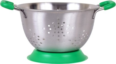 Montstar Deep Colander with Anti Skid Base & Plastic coated handles- 25cm(GREEN) Colander