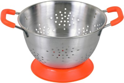 Montstar Deep Colander with Anti Skid Base & Plastic coated handles- 25cm(ORANGE) Colander