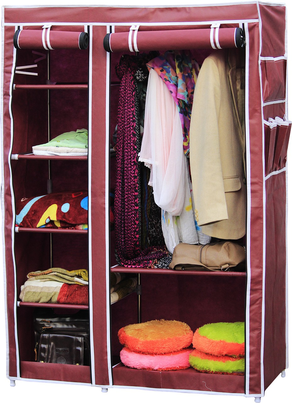 View Raunak Deluxe Stainless Steel Collapsible Wardrobe(Finish Color - MAROON) Furniture (Raunak)