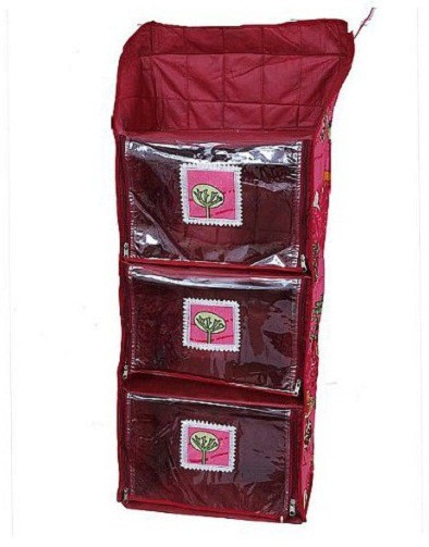View Kuber Industries Hanging Cotton Collapsible Wardrobe(Finish Color - Maroon) Furniture (Kuber Industries)