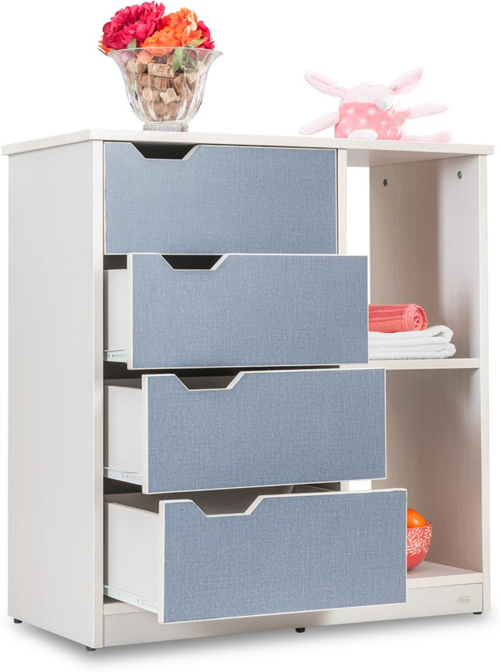 View Durian LENTO Particle Board Collapsible Wardrobe(Finish Color - Blue Denim :: White Pine) Price Online(Durian)