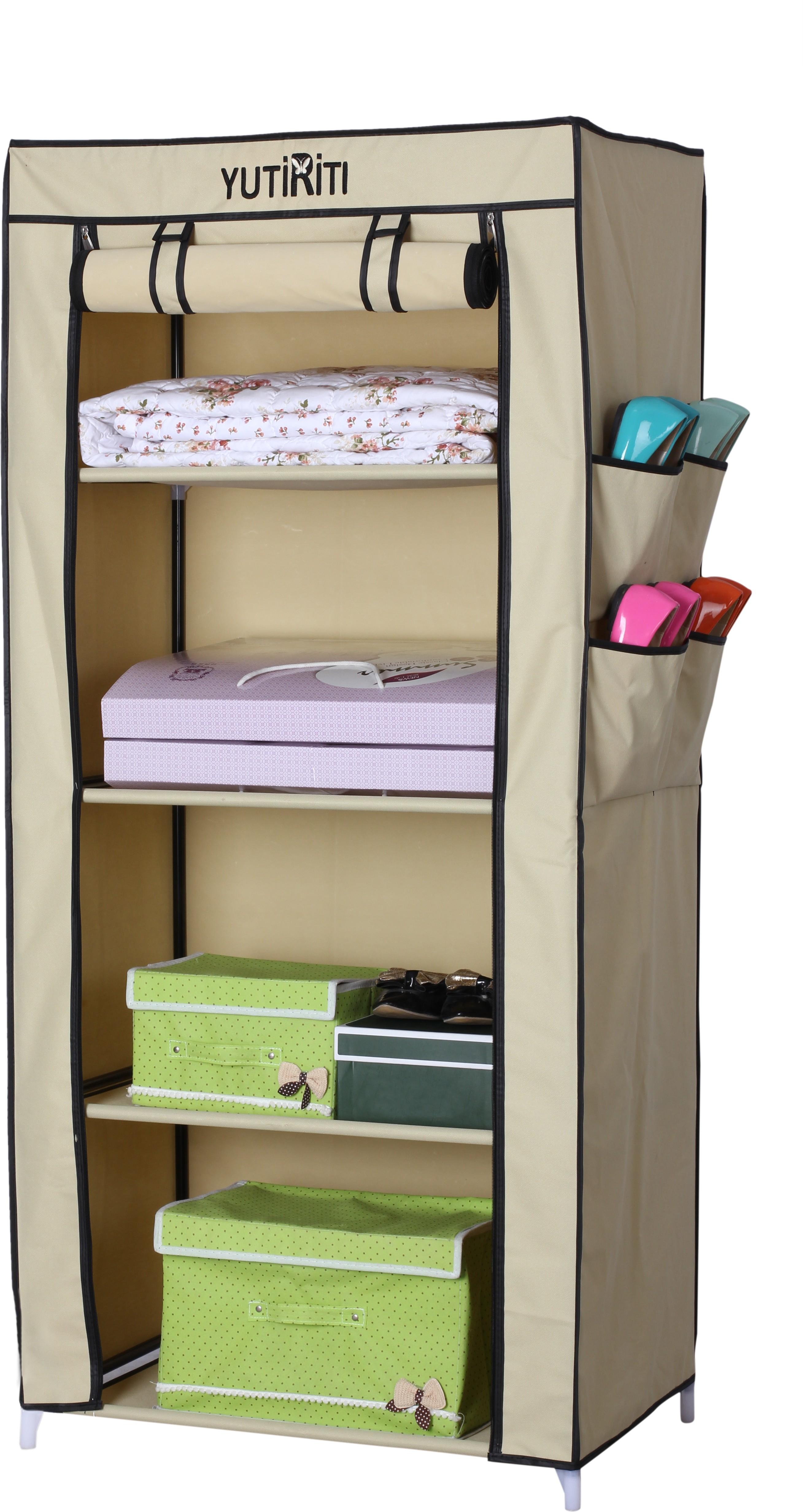 View Yutiriti Fancy & Portable Aluminium Collapsible Wardrobe(Finish Color - Cream) Furniture (Yutiriti)