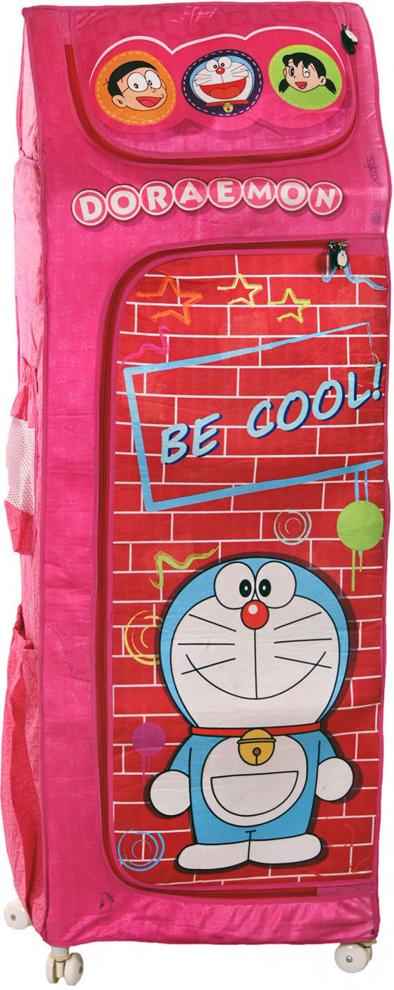 View Doraemon Polyester Collapsible Wardrobe(Finish Color - Pink) Furniture (Doraemon)