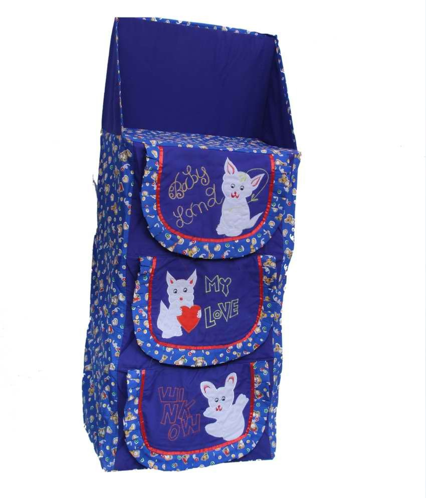 View Kuber Industries Cotton Collapsible Wardrobe(Finish Color - Blue) Furniture (Kuber Industries)