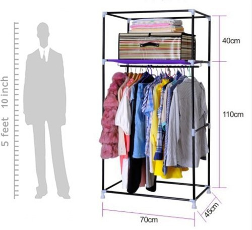 View EI Carbon Steel Collapsible Wardrobe(Finish Color - Pink) Furniture (EI)