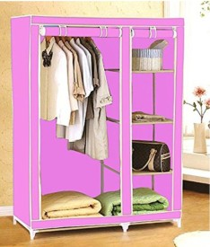 Everything Imported Carbon Steel Collapsible Wardrobe(Finish Color - Pink)