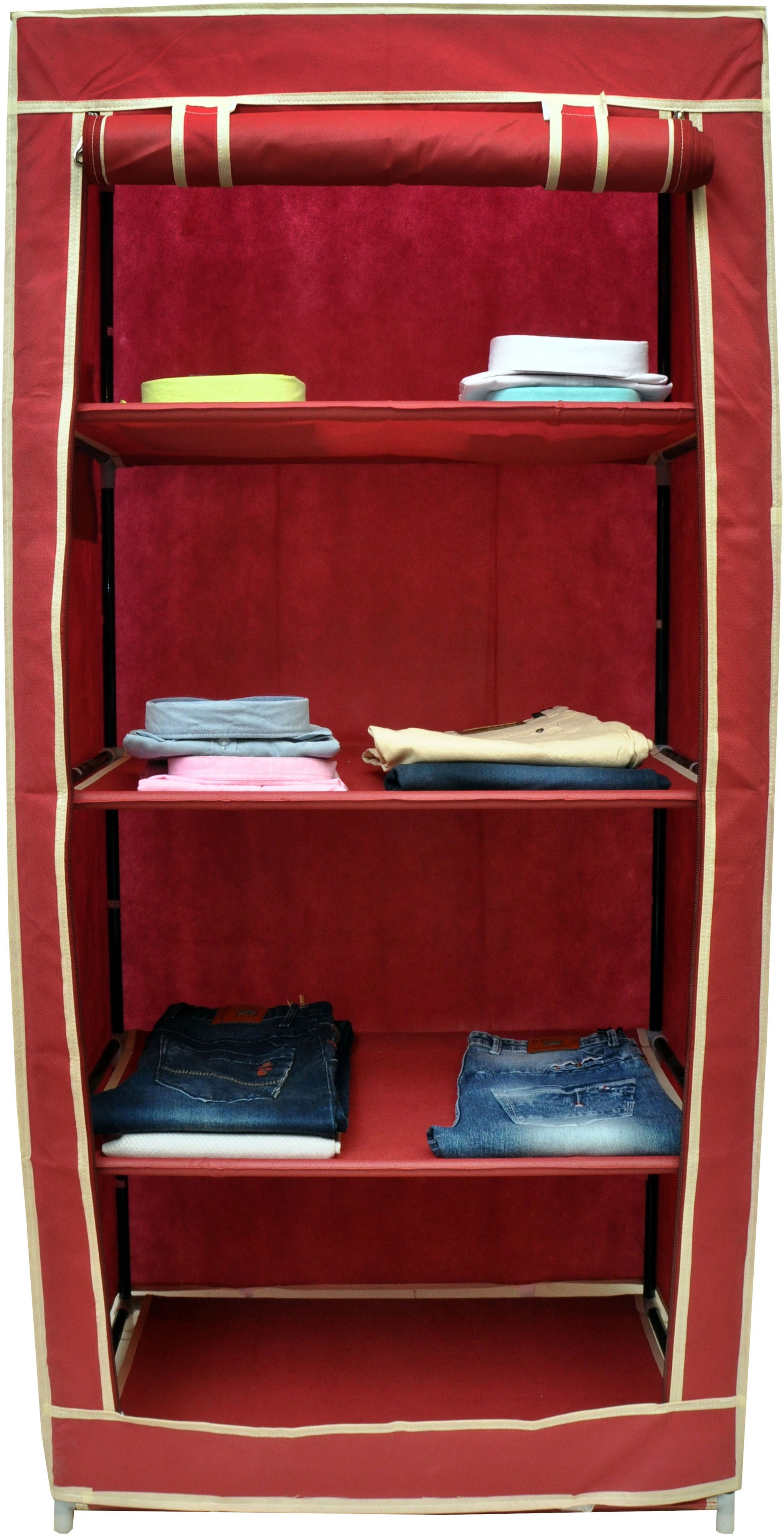 View Solace Single Row Carbon Steel Collapsible Wardrobe(Finish Color - Maroon) Furniture (Solace)
