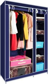 MSE Fine Multipurpose Fancy Portable Wardrobe_SH1 Stainless Steel Collapsible Wardrobe(Finish Color - Blue)