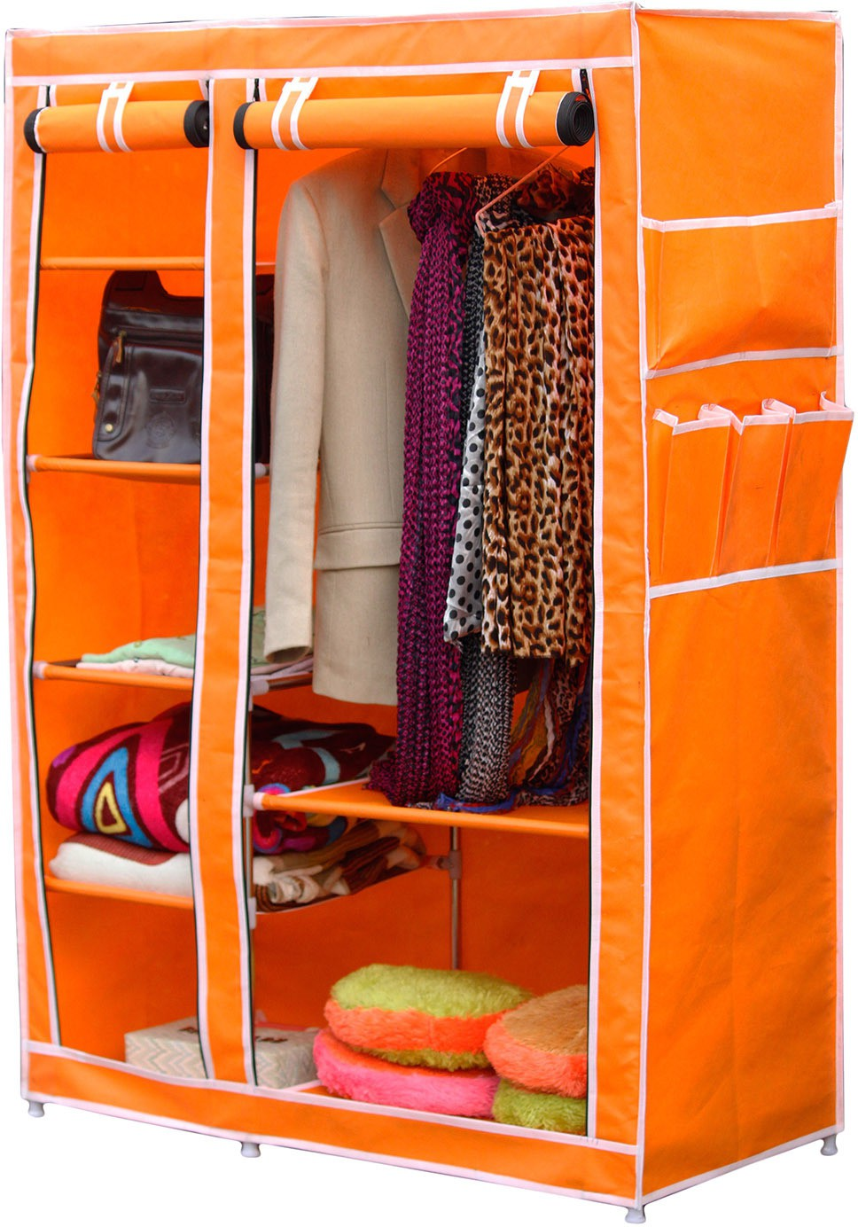View Raunak Deluxe Stainless Steel Collapsible Wardrobe(Finish Color - ORANGE) Furniture (Raunak)