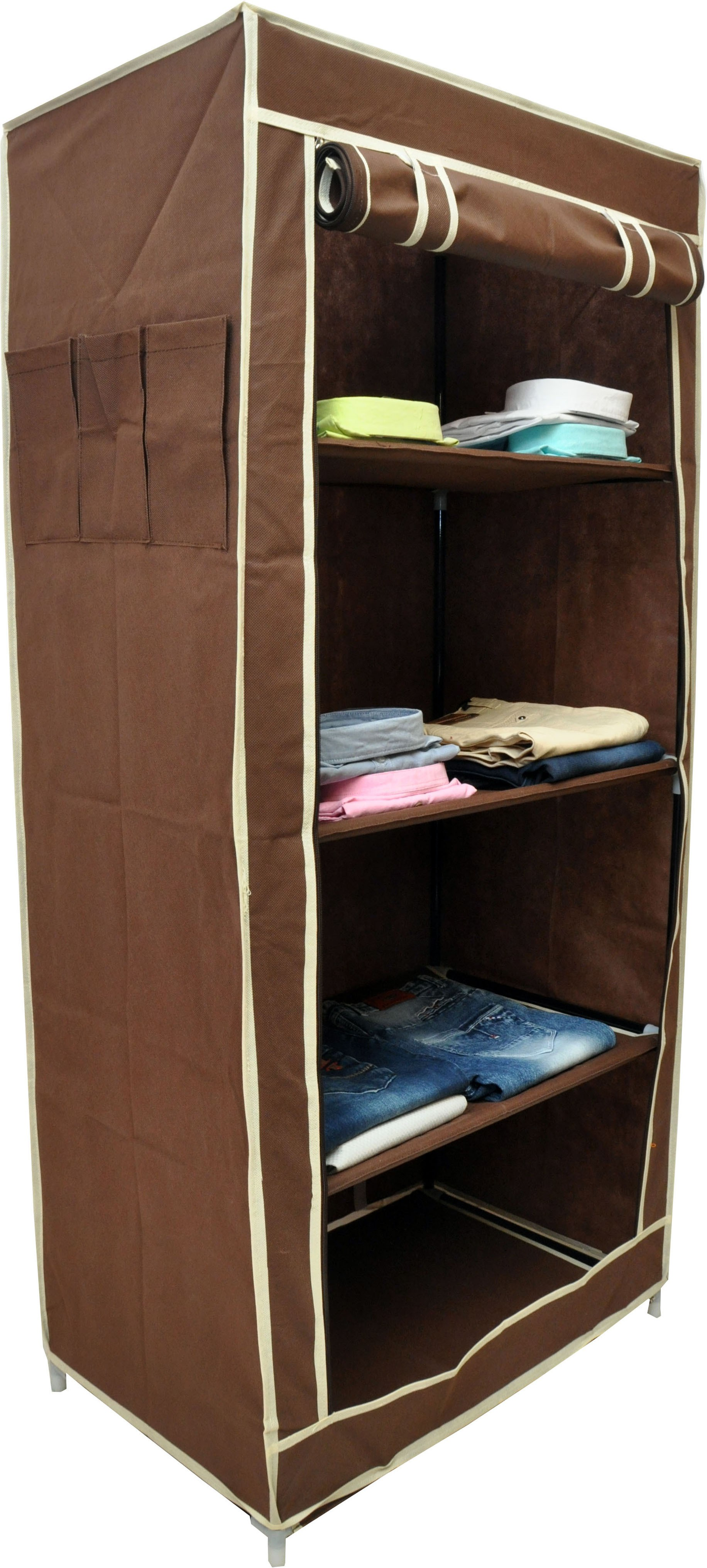 View Solace Single Row Carbon Steel Collapsible Wardrobe(Finish Color - Brown) Furniture (Solace)