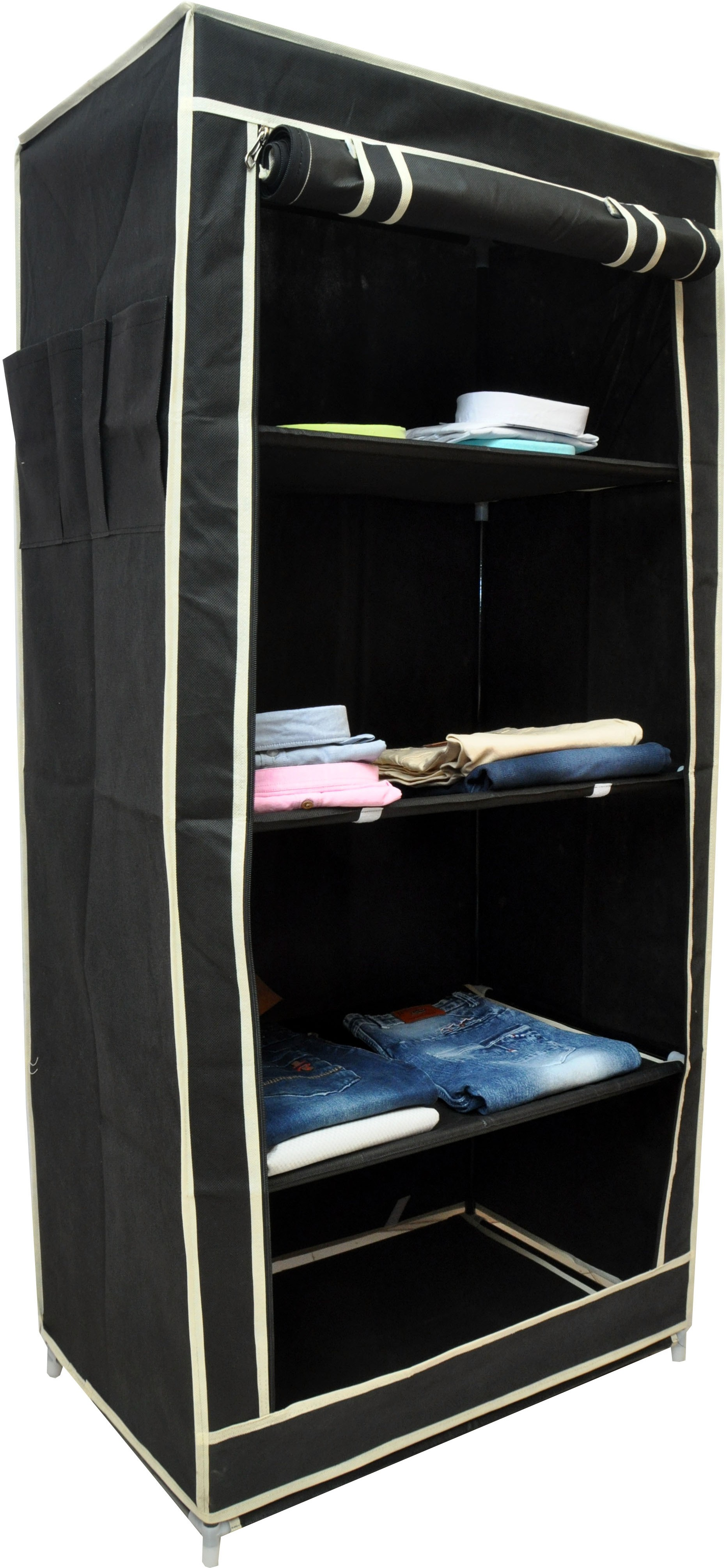 View Solace Single Row Carbon Steel Collapsible Wardrobe(Finish Color - Black) Furniture (Solace)