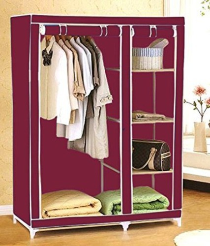 View EI Carbon Steel Collapsible Wardrobe(Finish Color - Wine Red) Furniture (EI)