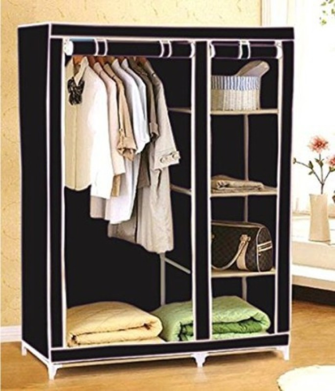 EI Carbon Steel Collapsible Wardrobe(Finish Color - Black)
