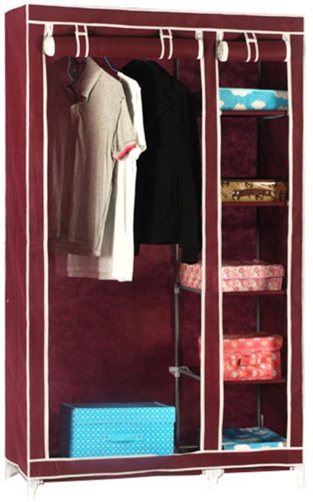 View Pindia Fancy & Portable Aluminium Collapsible Wardrobe(Finish Color - Maroon -wardrobe) Furniture (Pindia)