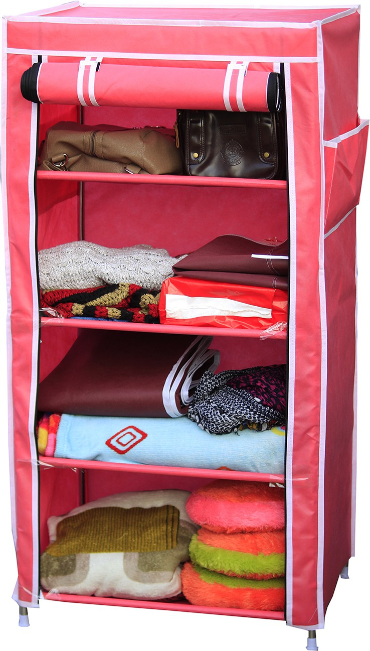 View Raunak Deluxe Stainless Steel Collapsible Wardrobe(Finish Color - PINK) Furniture (Raunak)