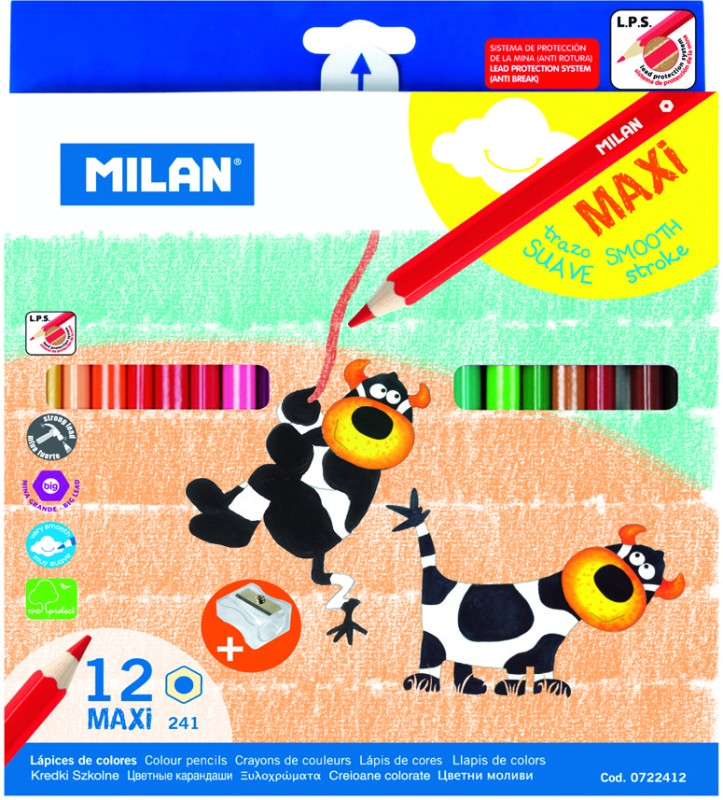 Milan Maxi Hexagonal Shaped Color Pencils(Set of 1, Multicolor)