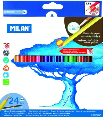 Milan Watersoluble 24 Shades Triangular Shaped Color Pencils