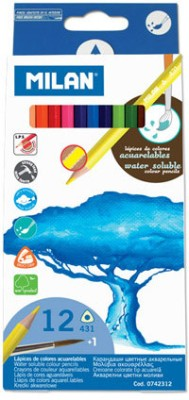Milan Watersoluble 12 Shades Triangular Shaped Color Pencils