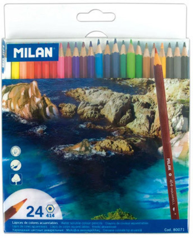 Milan Water Soluble 24 Hexagonal Shaped Color Pencils(Set of 1, Multicolor)