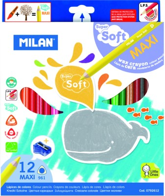 Milan Maxi Super Soft 12 Shades Round Shaped Color Pencils