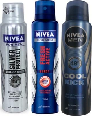 Nivea Silver Protect Dynamic Power,Cool Cick,Fresh Active Burst (Set Of 3)Deo For Men Combo Set