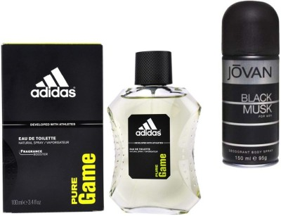 Adidas Live It Combo's In EDT Pure Game & Jovan Men's The Black Musk Deo Combo Set