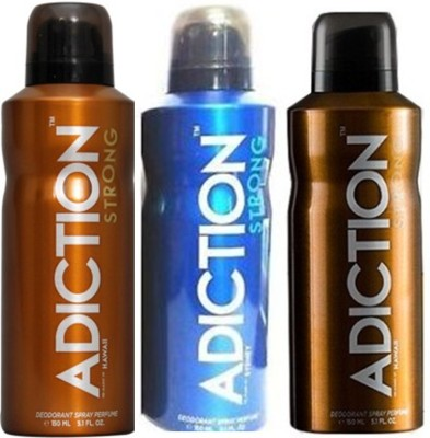 Adiction Strong Hawaii,Vegas,Sydney Deodorants Pack of 3 for Men Combo Set