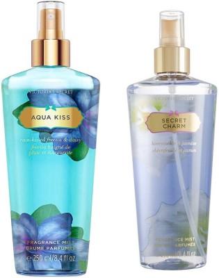 Victoria's Secret Fragrance Body Mist Set Aqua Kiss and Secret Charm for Women (250 ml x 2) Combo Set