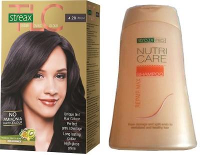Streax TLC Plum Hair Color and Pro Nutricare Repair Max Shampoo Combo Set
