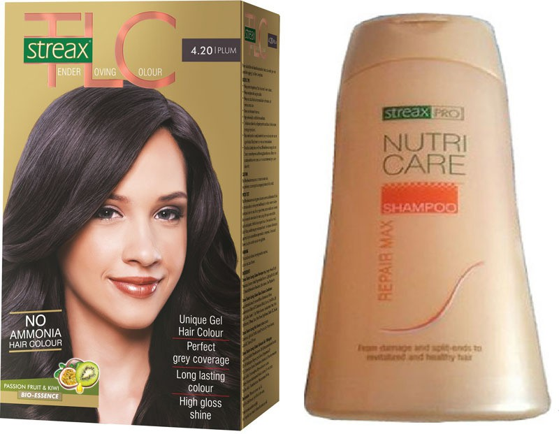 Streax TLC Plum Hair Color and Pro Nutricare Repair Max Shampoo Combo Set(Set of 2)