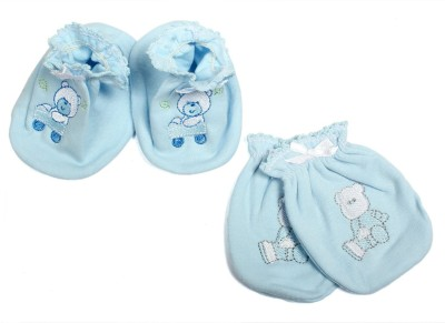 Baby Bucket First Wear Mittens And Booties Set (Blue) Combo Set