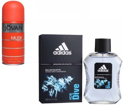 Adidas Live It Combo's In EDT Ice Dive & Jovan Men's The Musk Combo Set