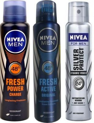 Nivea Fresh Original,Fresh Power Charge,Dynamic Power (Set Of 3) Deo For Men Combo Set