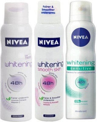 Nivea Whitening Sensitive ,Fruity Touch,Smooth Skin Deodorants Pack of 3 For women Combo Set