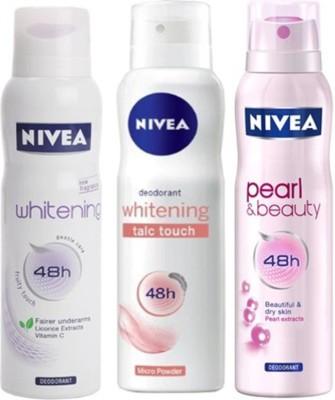 Nivea Whitening Sensitive,Pearl&Beauty,Talc touch Deodorants Pack of 3 Women Combo Set
