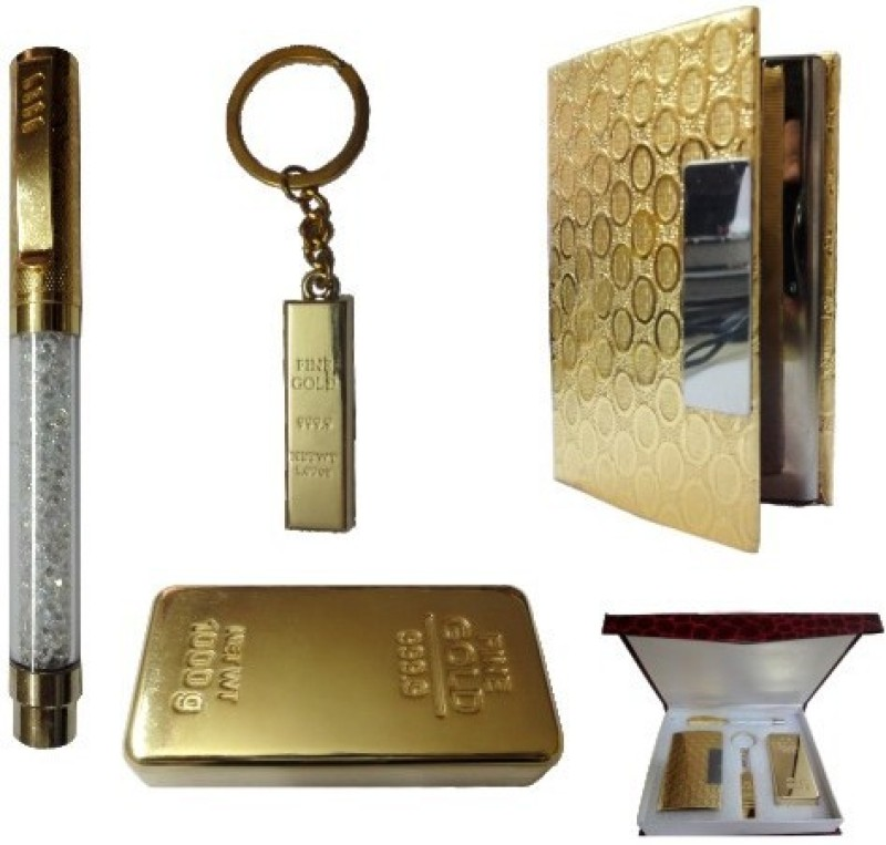 Dharohar The Heritage All 24k Gold Plated – Crystal Pen, Visiting Card Holder, Gold Bar Shape Paper Weight and Key Holder – Combo Corporate Set-III Combo Set(Set of 4)