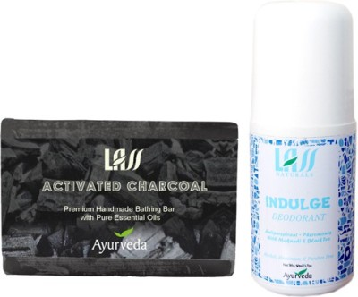 Lass Naturals Ddeodorant for the men with Activated charcoal soap Combo Set