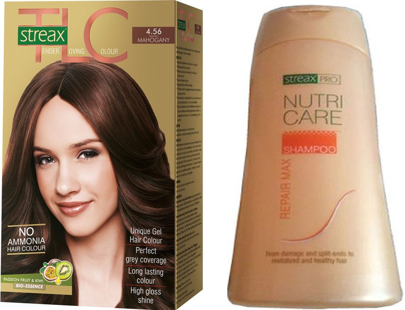 Streax TLC Mahagony Hair Color and Pro Nutricare Repair Max Shampoo Combo Set(Set of 2)