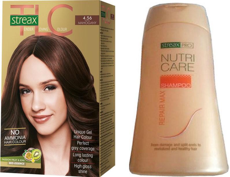 Streax TLC Mahagony Hair Color and Pro Nutricare Repair Max Shampoo Combo Set(Set of 2)