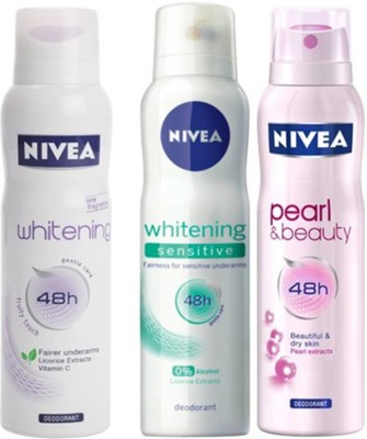 Nivea Whitening Sensitive,Pearl&Beauty,fruity touch Deodorants pack of 3 For Women Combo Set