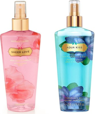 Victoria's Secret Fragrance Body Mist Set Aqua Kiss and Sheer Love for Women (250 ml x 2) Combo Set