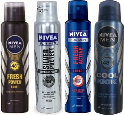 Nivea Silver Protect Dynamic Power,Cool Cick,Fresh Active Burst,Fresh Power Boost(Set Of 4)Deo For Men Combo Set