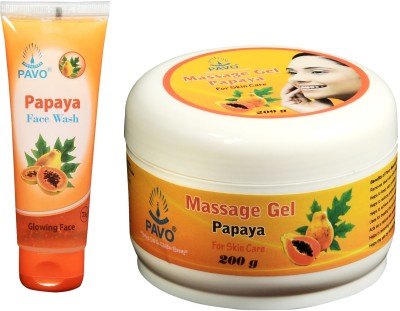 Pavo Papaya Face Wash & Massage Gel Combo Kit Combo Set