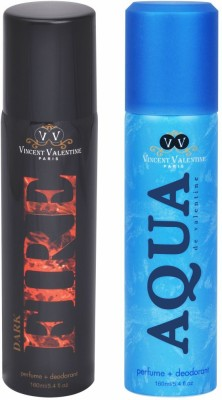 Vincent Valentine Paris Set of Dark Fire & Aqua De Valentine Deodorants Combo Set