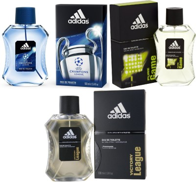 Adidas Pure Game Edt 100 Ml Champions League Edt 100 Ml And Victory League Edt For Men 100 Ml Gift Set  Combo Set