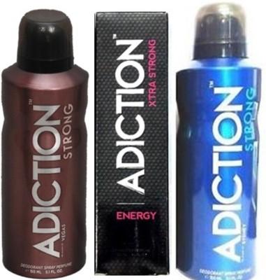 Adiction Strong Vegas,Energy ,Sydney Deodorants Pack of 3 for Men Combo Set
