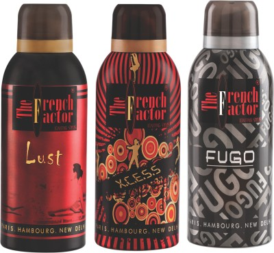 French Factor Lust, Xcess & Fugo Silver Deodorant Combo Set