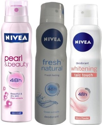Nivea Whitening Talc touch ,Pearl&Beauty,fresh natural Deodorants Pack of 3 For Women Combo Set