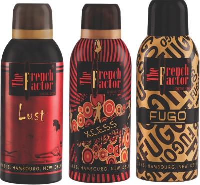 French Factor Lust, Xcess & Fugo Gold Deodorant Combo Set